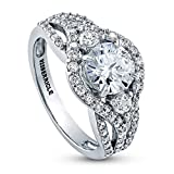 BERRICLE Rhodium Plated Sterling Silver Round Cubic Zirconia CZ 3-Stone...