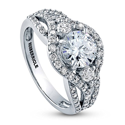 BERRICLE Rhodium Plated Sterling Silver Round Cubic Zirconia CZ 3-Stone Anniversary Wedding Engagement Ring 2.1 CTW Size 8