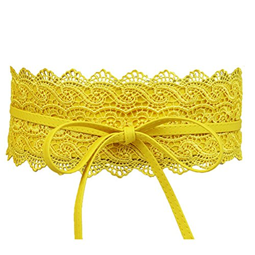 Women's Lace Waist Belt Bow Tie Wrap Around Soft Leather Boho Corset Fashion Elegant for Dresses (Yellow)