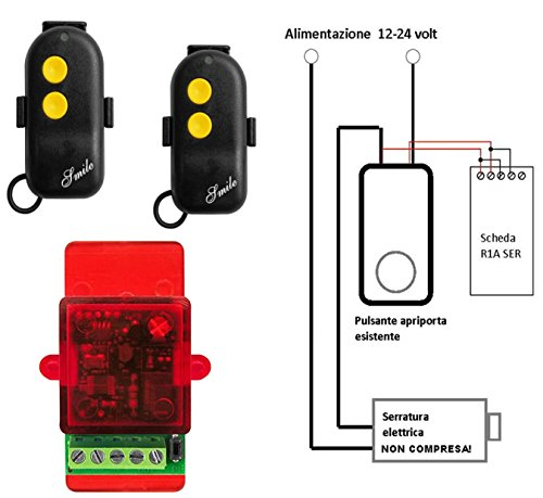 Draadloze afstandsbedieningsset voor elektrisch slot met 2 afstandsbedieningen – elektrisch slot met 12-24 Vca – rechtstreeks verbonden met de openingsknop