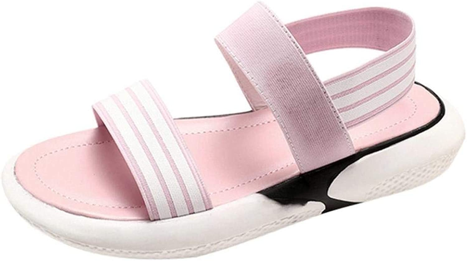 JaHGDU Fashion Women Sandals Beach Daily Summer Boom shoes Wedges Weave Middle Heel Low Top Elastic Casual Sandals