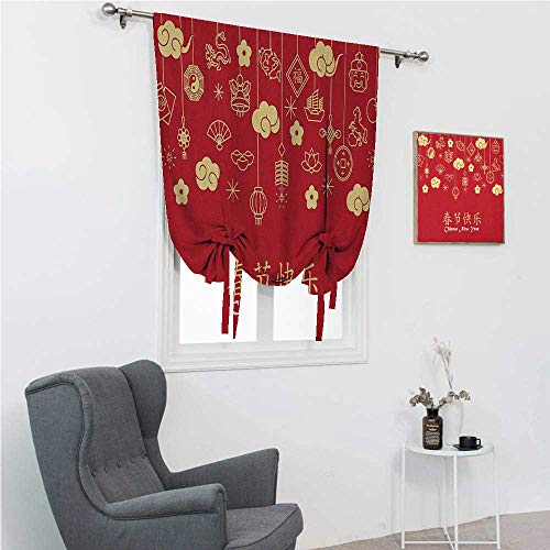 GugeABC Thermal Curtain Chinese New Year Roman Blinds for Window Oriental Celebration Icons Swirling Clouds and Ornaments 48' Wide by 72' Long Dark Coral Pale Yellow White