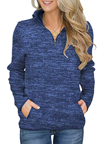 AlvaQ Womens Casual Winter Long Sleeves Collar Quarter 1/4 Zip Fleece Pullover Sweatshirts with Pockets Blue Medium
