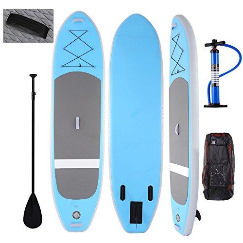 Profun Tabla Hinchable Paddle Surf Tabla de Surf Sup Set Stand Up Paddle Surf Board de 305CM*81CM*15CM con Paddle Ajustable+Bomba de Aire+Remo+Mochila (Tipo4 Azul)