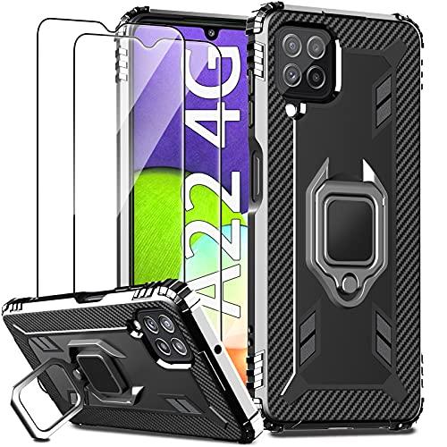 IMBZBK Kompatibel mit Samsung Galaxy A22 4G Hülle (Nicht passend für A22 5G) + [2 Stück] Panzerglas Schutzfolie, Handyhülle [360 Grad Drehung Fingerring Ständer][Military Grade Schutz] Silikon-Schwarz