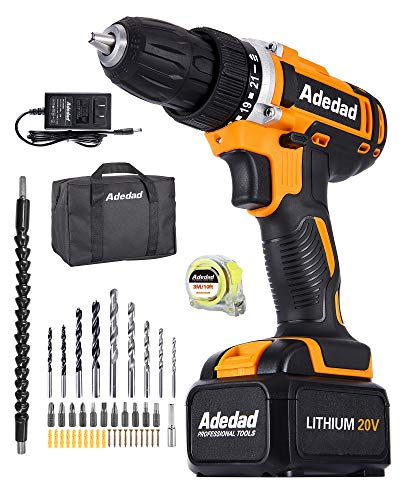 Cordless Drill Set - Adedad 20V Drill with 300 in-lbs Torque, Max 1550 RPM Variable Speed, Built-in LED   Power Drill/driver for Home Improvement