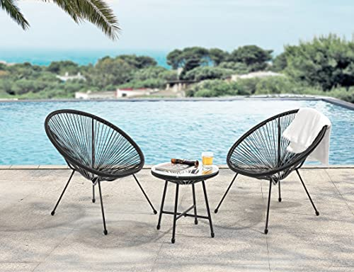 EVRE Goa Acapulco Styled Garden Furniture Set Bistro Patio Indoor Outdoor For Balcony, Garden, Terrace, 2 Chairs And 1 Table (Black)