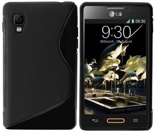 mumbi S-TPU Funda Compatible con LG E440 Optimus L4 II, Negro