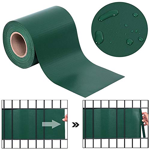Decorative Fences PVC Fence Screen, Fence Wall Garden Fence Cover Privacy Zone Windshield Anti-UV Windproof with Fixing Clip Balcony,Terrace, Pool Appearance (Color : Green, Size : 19x400CM)