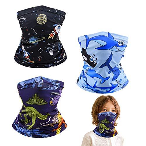 Kids Neck Gaiter Half Face Protective Masks, Reusable Washable Boys Girls Toddler Infinity Scarf Gator Face Cover Universe Dinosaur Dolphin Bandana Balaclava mascarillas para niños, Gift For Children.