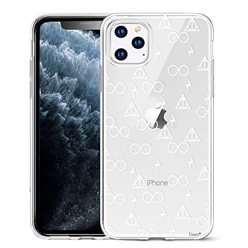 Unov Case Clear with Design for iPhone 11 Pro Max Case Slim Protective Soft TPU Bumper Embossed Pattern 6.5 Inch (Death Hallows)