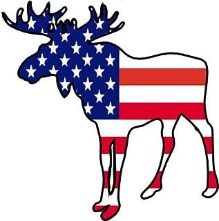 WickedGoodz American Flag Moose Vinyl Window Laptop Decal - Moose Bumper Sticker