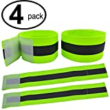 High Visibility Reflective Night Running Walking Elastic Strap Wristbands Ankle Bands Armbands Safety for Cycling Walking Running Camping Outdoor Sports-Fits Women, Men & Kids (2 Pairs / 4 Bands)
