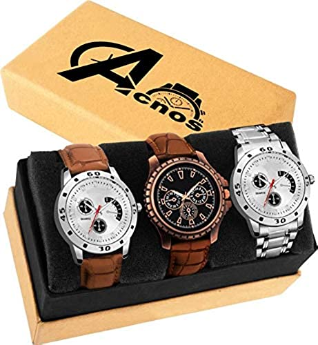 Special Super Quality Analog Watches Combo Look Like Handsome for Boys and Mens Pack of 3 437 MIN BRW