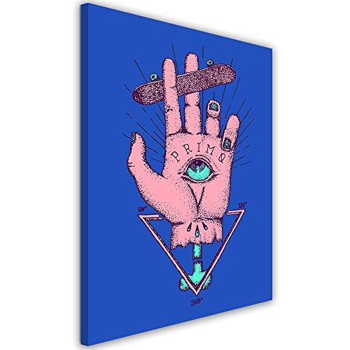 Feeby. Cuadro en lienzo - 1 Parte - 50x70 cm, Imagen impresión Pintura decoración Cuadros de una pieza, The God of Skate - Robert Farkas, MANO, ILUSTRACIÓN, AZUL