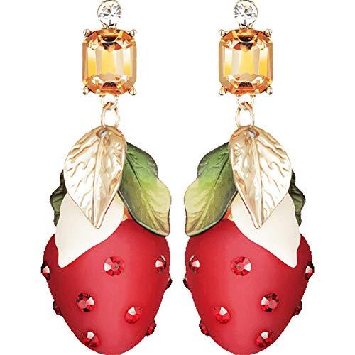 Beautiful jewelry Moda Mujer Joyas afrutado Pendiente del Perno Prisionero, encantadores Pendientes de la Fresa Nueva Personalidad, Rojo Dulce Pendientes Largos de Las Mujeres