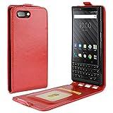 HualuBro BlackBerry KEY2 Hülle, Premium PU Leder Leather HandyHülle Tasche Schutzhülle Flip Hülle Cover mit Karten Slot für BlackBerry Key 2 Smartphone (Rot)