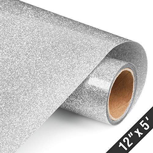 Glitter Heat Transfer Vinyl Rolls 12x60 Inch, Iron on Vinyl for Shirts Clothing by TransWonder (Silver)