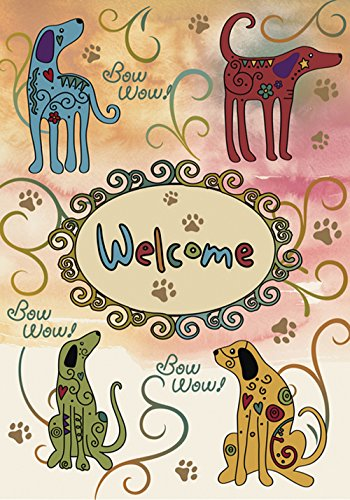 Toland Home Garden Bow Wow Welcome 28 x 40 Inch Decorative Puppy Dog Animal Paw Swirl Flower House Flag