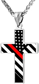 Cross Pendant Necklace Thin Red Line Flag Christian Religious Jewelry For Men and Women