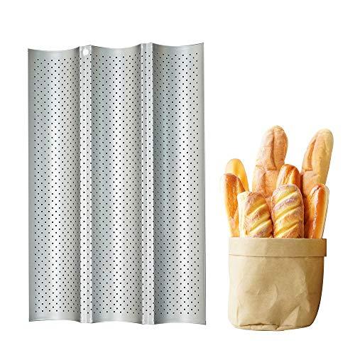 YNC Brotbackformen,Perforierte Baguette-Laib Pfanne Baguetteblech, Baguette-Backblech mit Antihaftbeschichtung, Antihaft-Baguette Backform für 3 Baguettes, Silber Baguetteblech mit Porös