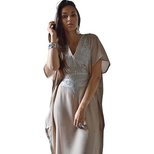 0401aaf1450 New Handmade Ladies Kaftan Resort Wear Cover-up Fashion Beige with Silver  Marrakech Cotton Caftan