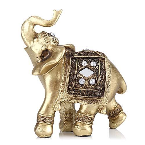 Statua Elefante Oro Elegante Ornamento Elefante Ricchezza Fortunata Figurina di Elefante con Tronco Alzato Casa Ufficio Arredamento Desktop Decorazione Compleanno Natale Congratulazioni Regalo (S)