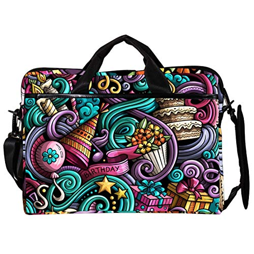 Unisex Computer Tablet Satchel Bag,Lightweight Laptop Bag,Canvas Travel Bag,13.4-14.5Inch with Buckles Colorful Doodle Cake Candle Candy
