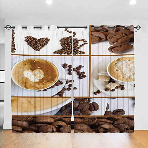 Kitchen Chinese Style Curtain Coffee Themed Collage of Beans Mugs Hot Foamy Drink with a Heart Macro Aroma Photo The Best Choice for Bedroom and Living Room W108 x L84 Brown White