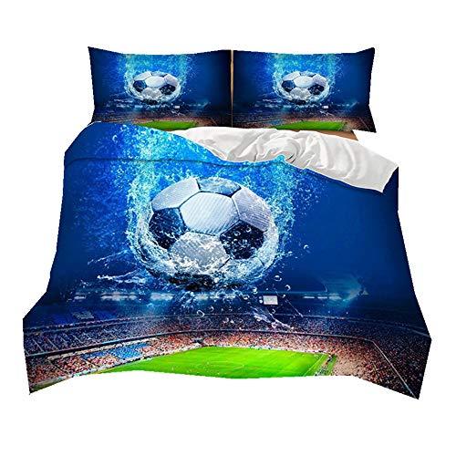 Sticker superb 3D Fußball Sport 150x200cm Bettbezug Set mit Kissenbezug 3 Teilig Blau Bettwäsche Set 100% Mikrofaser Polyester (Fußball in Blau Hintergrund, 150x200cm für 1,2 m Bett)