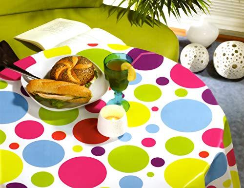 Fiora Wachstuch Tischdecken Wetterfest Robust Wachstischdecke Garten Tischdecke abwischbar Oval, Eckig, Rund (180x140cm Eckig, Punkte Bunt Groß)