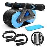 Odoland 4-En-1 AB Roller Wheel Kit, Ruedas Grandes con Alfombrilla para Rodilla, Push Up Bar en Forma de S, Cuerda Saltar Fitness, Equipo de Entrenamiento Ejercicios Abdominales