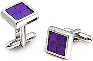 Purple Epoxy Rhodium Plated Square Cuff Links, February Birthstone