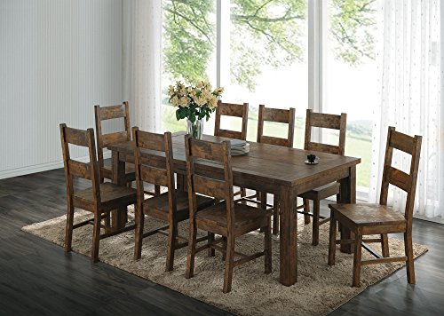 Coaster Home Furnishings Coleman 7-Piece Dining Set with Ladder Back Side Chairs Rustic Golden Brown