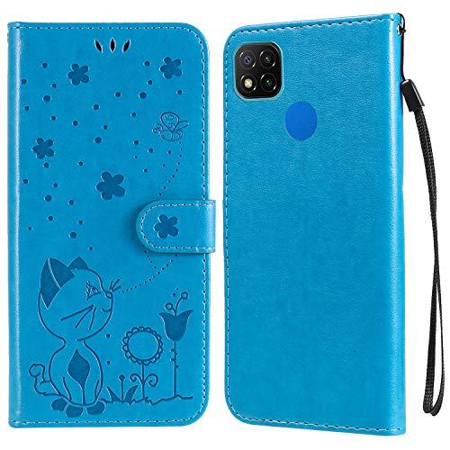 UBrand JRIANY para Funda Xiaomi Redmi 9C Carcasa Billetera con Tapa Cubierta Libro Protectora Antigolpes de Cuero con Diseño de Gato 3D Ranura Tarjeta y Soporte Plegable Caso Cartera, Azul