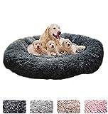 ZINN - Cuccia per cani extra large, rotonda, calmante, morbida, lavabile, in pelliccia, per cani di grandi dimensioni, colore grigio scuro - M-70 cm
