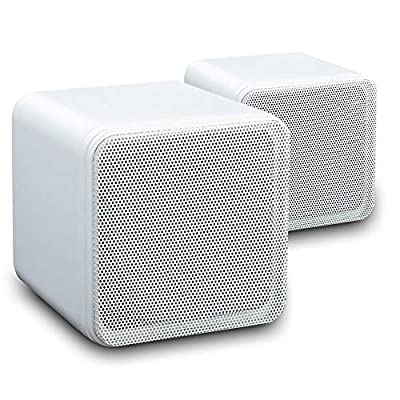B405A 4'' 80w Surround Sound Bookshelf Cube Speakers White (pair) by OEM