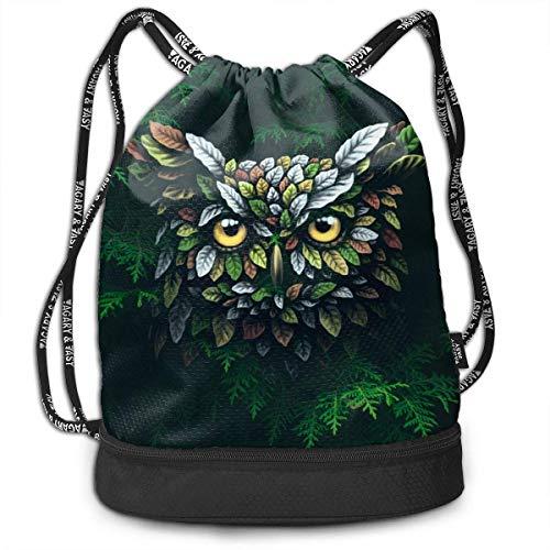 OIVLA Cord Bag Sackpack Cool Animal Owl in Tree Drawstring Bag Rucksack Shoulder Bags Travel Sport Gym Bag...