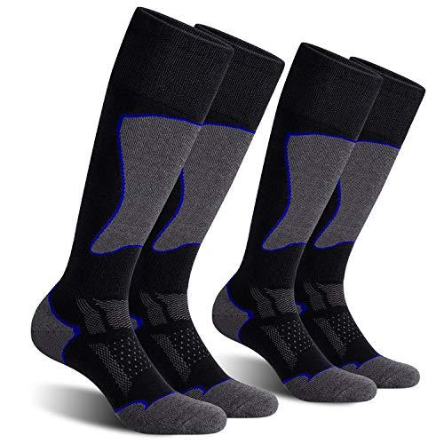 CelerSport 2 Pack Men's Ski Socks for Skiing, Snowboarding, Cold Weather, Winter Performance Socks, Black+Blue, Shoe Size 12-14