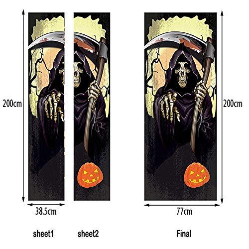 LTT& 292/5000 3D Renovierung Halloween Gevatter Tod Tür-Wandbilder Entfernbar Selbstklebend Tapete Haus Dekoration 77 X 200 cm MT288