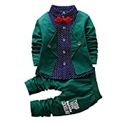 2pcs Baby Boy Dress Clothes Toddler Outfits Infant Tuxedo Formal Suits Set Shirt + Pants (Green, 18M)