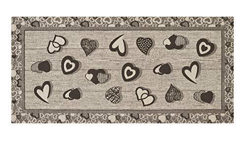 HomeLife Tappeto Cucina Antiscivolo 55X80 Made in Italy | Passatoia Moderna Colorata Stile Shabby Chic a Cuori | Tappeto Runner Lungo Lavabile [55X80, Grigio]