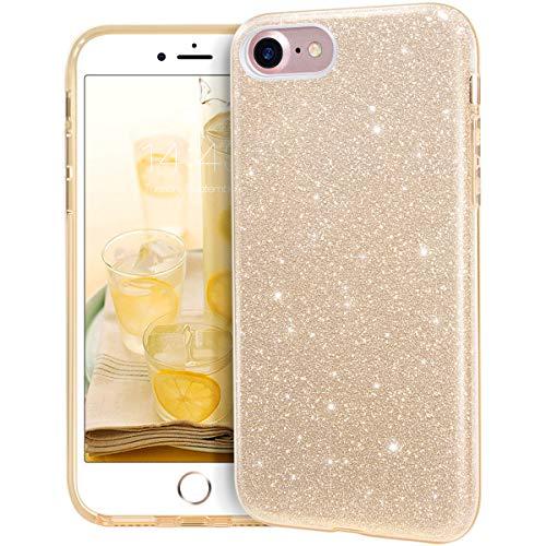 MATEPROX iPhone 7 Hülle,iPhone 8 Hülle,iPhone SE 2020 Hülle,Glitter Schutzhülle Glitzer Bling Handyhülle für 4,7 Zoll iPhone 7/8/SE 2020-Gold