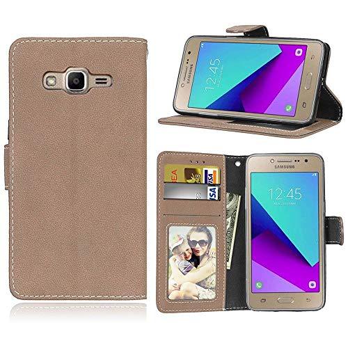 Sangrl Coque pour Samsung Galaxy Grand Prime Plus / J2 Prime G532F, Étui Portefeuille en Cuir PU Flip Coque Support Pliable Housse avec Emplacements Cartes Coque Flip Case Rice Yellow