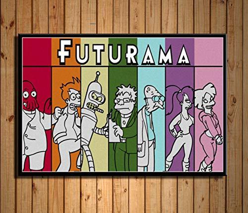 Aymsm Habitación Infantil Decoración de la Pared Futurama Cartoon Classic Cartoon Art Pintura Seda Lienzo Poster Wall Home Decor 40X60 cm Sin Marco