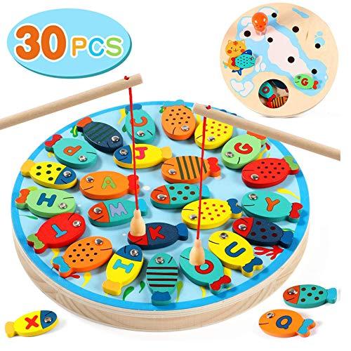 Lewo 2 In 1 Angelspiel 30 STÜCKE Holz Magnetische Alphabet Brief Angeln Spielzeug für 3 4 5 Jahre Alt Mädchen Jungen Kinder Geburtstag Lernen Spielzeug mit Magnetstangen
