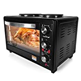 Updated Premium Version Multifunction Grill Oven, Dual Hot Plate, Toaster Oven w/Rotisserie, Grill/Griddle Top, Countertop Convection Oven, w/Wire Grill Rack, Baking Tray, Skewers, Tray Handles