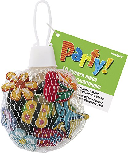 Unique Party - 74034 - Paquet de 10 Bagues Enfants en Caoutchouc pour Pochettes - Cadeau