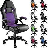 TecTake Silla de Escritorio de Oficina, Racing (Negro-Púrpura)
