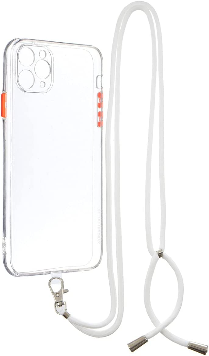 iPhone 11 Pro Max Case, Gift_Source Crossbody Lanyard Case Slim Thin Shockproof Soft TPU Bumper Protection & Crystal Clear Hard PC Back Cover with Neck Strap for iPhone 11 Pro Max 6.5